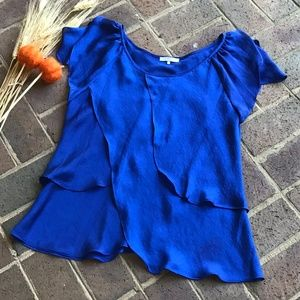 Violet & Claire Royal Blue Tiered Satin Blouse